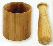 """Mortar and Pestle Carmelized Bamboo 4"""""""