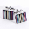 Multi Striped Design Rhodium Plated Cufflinks
