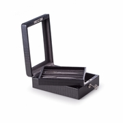 Pen Storage Case Black Leather  with Glass Top and Key Lock