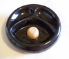 "Pipe Ashtray Black Glass 6.5"" dia for 2 Pipes"