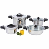 "Precise Heat� 8pc ""Waterless"" 12-Element Stainless Steel Low-Pressure, Pressure Cooker Set"