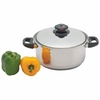 Precise Heat™ 5.5qt 12-Element T304 Stainless Steel Stockpot with Vented Cover