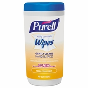 Purell Hand Sanitizing Wipes, 5.7 x 7 1/2, Fresh Citrus Scent, 40 wipes Canister/6 Canisters per case