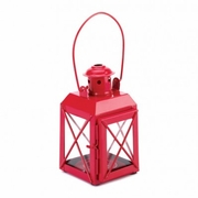 Railroad Style Candle Lantern Red