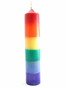 "Rainbow Dipped Candle 10"" Pillar"