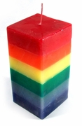 Rainbow Solid  Square Pillar  Candle 6 x 3