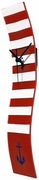 Red and White Striped Nautical Wave Glass Clock