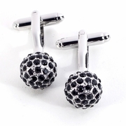 Rhodium Plated Cufflinks with Black Crystals and Chrome Accents.