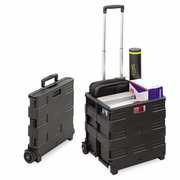 Safco Stow And Go Rolling Cart, Collapsible Stowaway Crate  Black