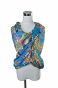 Scarf Polyester, Blue In the Tropics Pattern