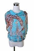 Scarf Polyester, Giraffes on Blue Background