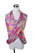 Scarf Polyester, In the Tropics Pattern Fuchsia