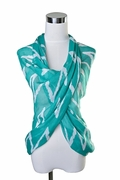 Scarf Polyester, Zig-Zag Pattern Teal