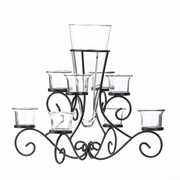 Scrollwork Candle Stand with Vase  8 Candle Cups