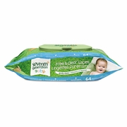 Seventh Generation Chlorine Free Baby Wipes, White, Unscented, 64/Pkg