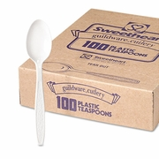 Solo Guildware® Heavyweight Polystyrene Full-Size Teaspoons, White  (100/pc)
