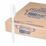 Solo Guildware® Heavyweight Polystyrene Full-Size White Forks (100pc)