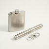 Stainless Steel Flask and  Cigar Holder Set