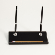 Stitched  Black Leather Double Pen Stand