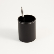 Stitched Black Leather Pencil Cup