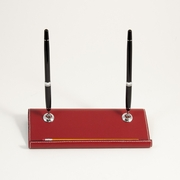 Stitched Red Leather Double Pen Stand