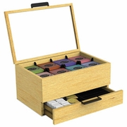 Tea Condiment and Accessory Organizer, Blonde Wood/Glass