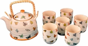 Tea Set Butterfly Design  Tea Pot with Strainer and 6 Cups