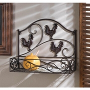 Three Roosters Kitchen Wall Basket