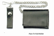 Tri-Fold Leather Wallet with Chain