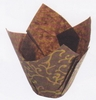 Tulip Cup Baking Papers for Cupcakes Muffins Brown Gold Scroll 25/pkg