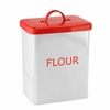 White and Red Metal Flour Canister
