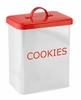 White and Red Metal Kitchen Cookie Canister