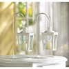 White Railroad Style Candle Lanterns (pair)