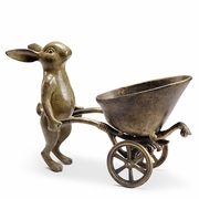 Wine Bottle Holder Bunny with Wheelbarrow