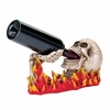 Wine Bottle Holder Flaming Skull   FREE SHIPPING