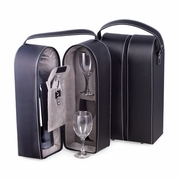Wine Caddy Black Leather  with Glasses