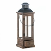 """Wooden Candle Lantern with Drawer  Large  27-1/2"""" h"""
