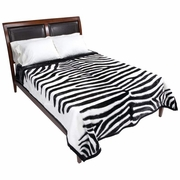 "Wyndham House™ White Tiger Print Heavy Luxury Blanket  79"" x 91"""