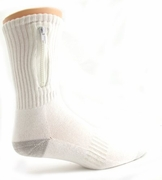 Zipper Pocket Socks  White  10-13