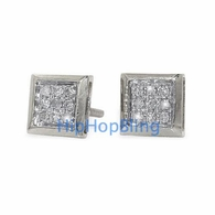 .05 Carat Diamond Box 10k White Gold Micro Pave Earrings