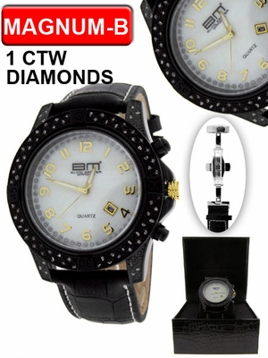 1.00cttw Diamond Black Magnum Bling Master Watch