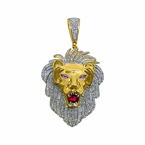 1.60cttw Diamond Large Lion Head Pendant Gold .925 Silver