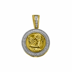 10K Gold .10cttw Diamond Cherub Angel Micro Medallion