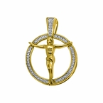 10K Gold .10cttw Diamond Jesus Circle Mini Charm