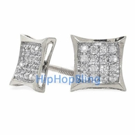 10k White Gold Kite Real Diamond Micro Pave Earrings .10 Carats