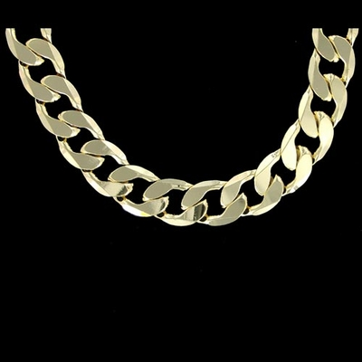 12MM CURB  CUBAN LINK 24&quote; CHAIN NECKLACE GOLD PLATED