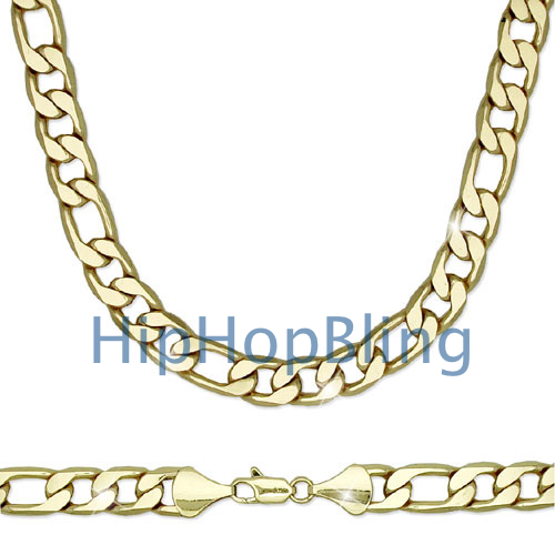 12mm Figaro 30 Inch Gold Plated Hip Hop Chain Necklace