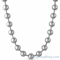 12MM Large Rhodium Bead Chain Necklace