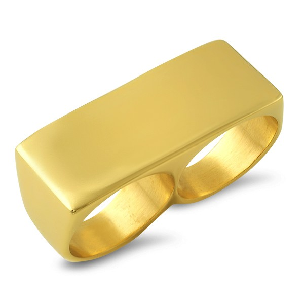 2 finger ring gold stainless steel 2 finger rings hr8606g