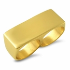 2 Finger Ring Gold Stainless Steel
